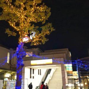 もうすぐクリスマス「南海高野線 金剛駅」周辺もイルミネーションが綺麗に光っています。